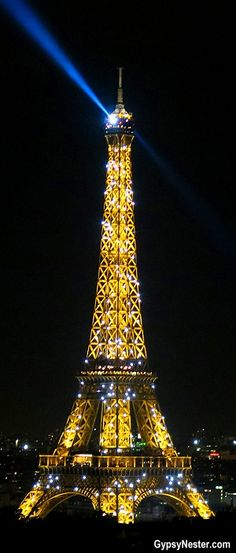 Eiffel Tower sparkle by night ~ Photo taken from the top of the the Arc de Triomphe, Paris