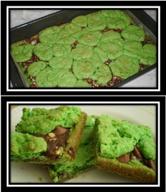 Shamrock Bars  1 box (18.25 oz) white cake mix, 5 oz evaporated milk, Green food coloring,  1/4 cup butter-melted, 1/2 tsp peppermint extract, 1 cup Andes mint chips, 1/2 cup milk chocolate chips,  Preheat oven to 350ƒ: Spray a 9x13 pan with cooking spray; Beat all except chips; Press half into bottom of pan; Bake until just set, about 8-9 min. Remove from oven, sprinkle with chips. Drop remaining batter on top by teaspoon amounts; Bake 20-24 min until top is golden. Cool completely.