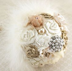 Brooch Bouquet Simple Style in Champagne and Ivory by SolBijou, $140.00