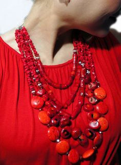 Ginormous Gemstones! A beautiful red coral statement necklace....made by Jewelry by Jessica Theresa, of course! ;-) $130.00