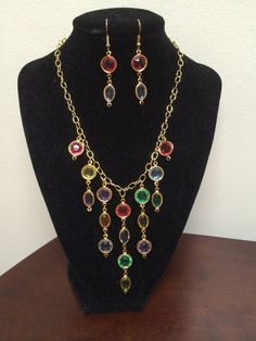 Multicolor tiered necklace with matching earrings