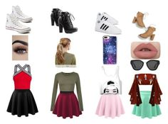 """""""Skirt Scouts"""" by jaynabean ❤ liked on Polyvore featuring beauty, LE3NO, adidas, Converse, Charlotte Russe, Casetify, Prada and Kitsch"""