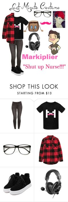 """""""//Last Minute Costume: Markiplier//"""" by blissfull-darkness ❤ liked on Polyvore featuring ZeroUV, H&M and WithChic"""