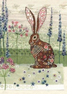 Big Eared Hare - Bug Art greeting card This is great inspiration for applique work. Simple shapes and a mix of similar toned fabrics. This long eared Paisley Hare is one of Jane Crowther's pictures for Bug Art Cards. Purveyors of wonderful cards since t Applique Patterns, Applique Quilts, Embroidery Applique, Embroidery Designs, Applique Cushions, Bird Applique, Applique Ideas, Embroidery Thread, Freehand Machine Embroidery