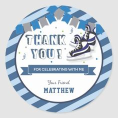 Ice Skating Birthday Party Blue Thank You Favor Classic Round Sticker #xmasgifts #outdoors #photography hockey players, hockey humor, hockey memes, dried orange slices, yule decorations, scandinavian christmas Hockey Gifts, Sports Gifts, Birthday Thank You, Boy Birthday, Happy Birthday, Lolly Bags, Skate Party, Flyers Hockey, Hockey Memes