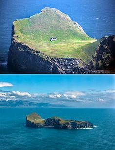 """This house is located on an island called Elliðaey, a small archipelago off the south coast of Iceland. The house was given to singer, Bjork from her motherland as a """"Thank You"""" for putting Iceland on the international map. (photos by zanthia ) Places To Travel, Places To See, Places Around The World, Around The Worlds, Beau Site, Iceland Travel, Wonders Of The World, Beautiful Places, Scenery"""