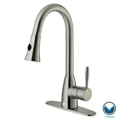$182 at Overstock VIGO Stainless-Steel Pull-Out Spray Kitchen Faucet with Deck Plate (Single-Hole Installation)