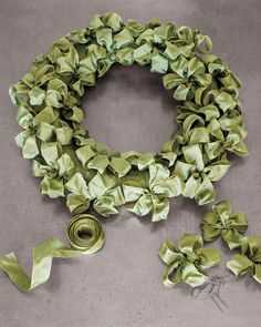 Ribbon Wreath   Martha Stewart Living - Wrap it up in bows! Use ribbon in a color of your choice for girlish fun on your front porch.