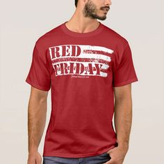 The RED Friday t-shirt design shown was personally created by the artists at Johnny Wear. We hope you love your shirt as much as we do.  Watch our promotional video for the shirt at https://www.youtube.com/watch?v=dOWAEx5iWy8  Shirts are 100% cotton and/or a 50/50 blend depending on shirt brand Seamless double needle collar Taped neck and shoulders for durability Double needle sleeve, bottom hems