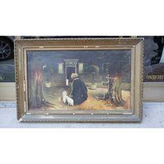 Dipinto olio su tela anziana donna con cagnolini - primi '900