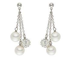 Nova Pearls Copenhagen - Zuidzee-parel oorstekers Tamar, wit, L 4,5 cm
