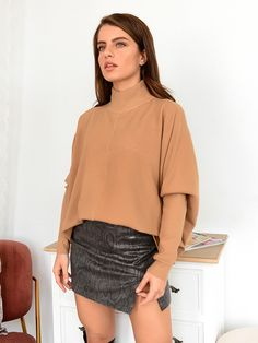Μπλούζα Πλεκτή Ζιβάγκο Κάμελ - Flexibility Mini Skirts, Turtle Neck, Sweaters, Shirts, Tops, Fashion, Camel, Moda, Fashion Styles