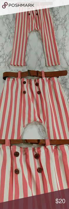 Pink Stripes pants. Kids Adorable pink and white stripes pants.  Stretching.  Have pockets Pull up style.  With the belt.  This item is brand new and never used. No tags. Bottoms Casual