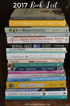 Here's my 2017 book list filled with books on motherhood, marriage, homemaking, and more! I'd love to hear what you're reading this year! Best Books To Read, I Love Books, Good Books, Buy Books, Book Suggestions, Book Recommendations, Reading Lists, Book Lists, Personal Development Books