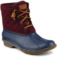 Sperry Women's Saltwater Quilted Wool Navy/Maroon Boots ($120) ❤ liked on Polyvore featuring shoes, boots, sperry shoes, maroon boots, eyelets shoes, sperry boots and navy blue shoes