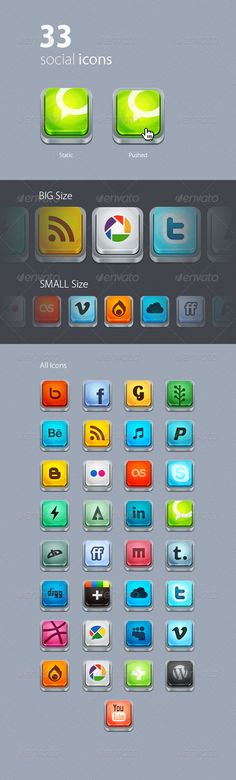 """The pack includes:  PSD files (3 PSD files, for each icon size ) – fully editable and well organized files, icons are easy to edit, customize and resize; - folder of PNG icons (2 folders, each for each icon size) – transparent web ready .png icons (isn't editable), each icon in """"Static"""" and """"Pushed"""" positions.  Social networks are used:  Facebook, Google+, iTunes, MobileMe, MySpace, Paypal, Skype, Twitter, Technorati, WordPress, YouTube."""