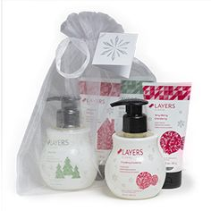 Pamper your hands with amazing Holiday fragrance! Each bundle contains a Hand Cream and Hand Soap in three exclusive scents: Christmas Cottage, Winter Pine and Very Merry Cranberry. All six products are beautifully bundled in an organza bag.�