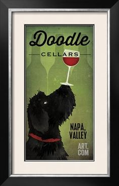 My two favourite things... dogs and wine!  Im buying it!  Doodle Wine II Black Dog Art Print by Ryan Fowler at Art.com
