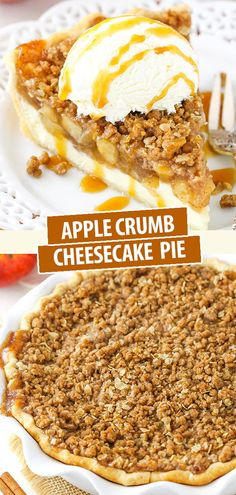 This Apple Crumb Cheesecake Pie recipe is made with a layer of cheesecake, homemade apple pie filling and an oatmeal crumb topping! It& a delicious dessert idea with a wonderful combination of flavors and textures! Apple Crumb Cheesecake, Cheesecake Pie, Apple Crumb Pie, Autumn Cheesecake Recipes, Best Apple Crumble Pie Recipe, Apple Torte, Apple Crumb Cakes, Apple Pie Cake, Crumb Recipe