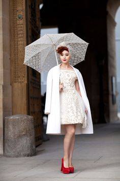 ce226fa0f Louis Vuitton White Lace Punctuated with Red at Paris Fashion Week - Street  Style Fall 2012 - Harper s BAZAAR