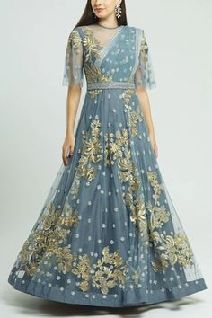 Buy Embroidered Gown with Belt by Neeta Lulla at Aza Fashions Neeta Lulla, Anarkali Gown, India Usa, Designers, Sequins, Belt, Gowns, Indian, Stuff To Buy