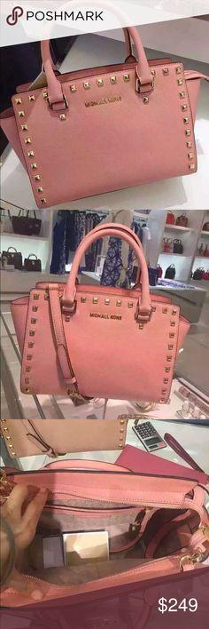 "Brand New MK Selma Medium Satchel Pale Pink Brand New, Authentic Michael Kors- Selma Stud Saffiano Leather Medium Top Zip Satchel-Pale Pink/13""x8""x5"" Michael Kors Bags Satchels"