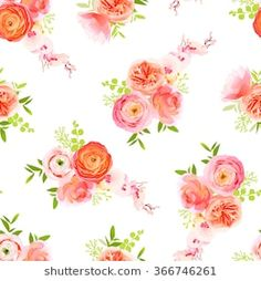 Peachy roses, ranunculus and exotic herbs bouquets seamless vector print