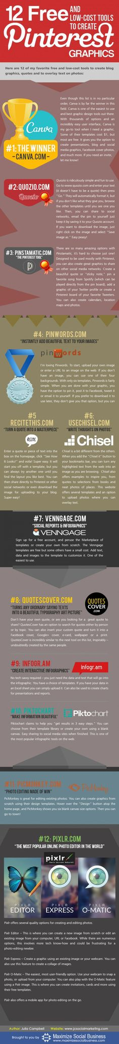 12 herramientas gratuitas para imágenes para Pinterest vía: http://ticsyformacion.com