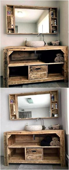 Teds Wood Working - wood pallet sink and mirror - Get A Lifetime Of Project Ideas & Inspiration!