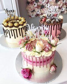 Elegant Birthday Cakes, 21st Birthday Cakes, Beautiful Birthday Cakes, Designer Birthday Cakes, Birthday Drip Cake, Beautiful Cakes, Cake Decorating Designs, Cake Decorating Techniques, Cake Designs