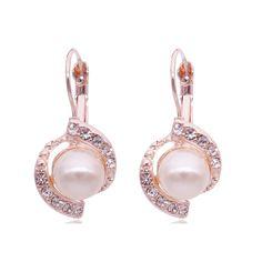 Fashion Pearl Earrings Women Gold Plated Crystal Pearl Stud Earrings 2016