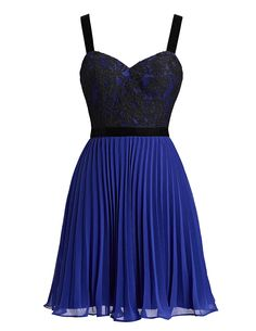 New Arrival Elegant 2016 Short Royal Blue Prom Dresses,Mini Homecoming Dresses,Pleated Lace Prom Gown,Chiffon Party Gown