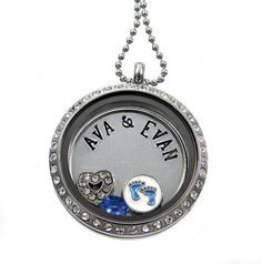 New Mommy Locket / Pregnancy Necklace / Floating Locket / Personalized Hand Stamped Jewelry by Silver Impressions