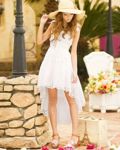 Sweet Lace High-Low Dress for a Glamour Night~