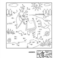 Dot-to-dot and coloring page - donkey