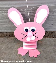 """Bouncing Paper Bunny Materials: Construction paper Wiggle eyes Scissors Glue Sharpie (black) Pom Poms String Tape Free template ----> HEREpaper bunny template full Directions: Choose the colors you want your bunny to be (we did pink and white) Cut out your template pieces from your colored construction paper Cut 2 long strips about 2"""" wide of each color of construction paper Lay one strip over the other and line up each corner (glue in place) Fold one side over the other and then rep..."""