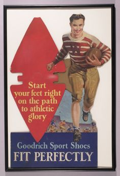 """Goodrich sport shoes football die cut advertising display c.1930-40's. Cardboard easel back display featuring Univ. of Wisconsin player running with ball. 24"""" tall with repaired tear at neck. $275"""
