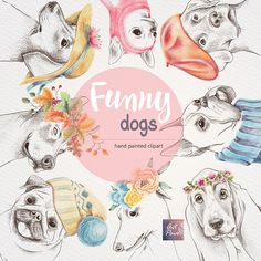 Funny Dogs Hand Drawn set Colored Pencil Clipart Outline