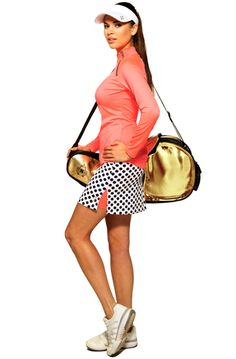 Pair this coral wind shirt with a navy polka dot skort | #golf4her #tennis #golf
