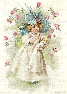 Victorian Trade Cards | GIRL w DOLL Raining ROSES * Humphrey | Our Cottage Garden