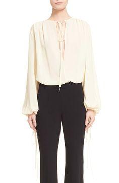 MICHAEL KORS Tie Neck Silk Blouse. #michaelkors #cloth #