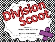 Get your students moving around the classroom and talking about math! Practice or review division in a fun way by using these cards to play Scoot or for a classroom Scavenger Hunt. These cards are aligned to the 3rd grade common core standards for division.