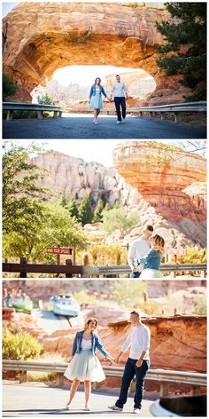 We can't get enough of this adorable engagement session on Route 66 at Disney California Adventure Park