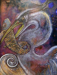 Blue Heron at Dusk by Lynette Shelley
