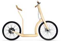 """This T20 Bamboo Electric Scooter is a prototype by french designer Antoine Fritsch. The frame is made from bamboo that makesit lightweight and of course cool. It has a top speed of about 22mph, and a range of about 25 miles in one charge.  """"the acceleration works similar to a scooter, employing manual power from the user to push the bike forward until it gets going, while a hybrid cork structure acts as a fusion between a seat and backrest for a comfortable ride"""""""