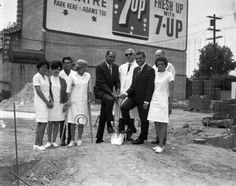 Tom Bradley, Billy Mills and others at a groundbreaking. Photo by Harry Adams.