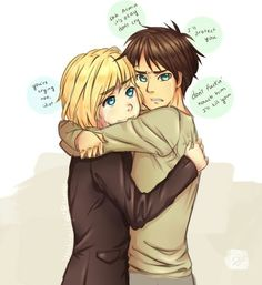 I want to ship it but like levi and eren make a cute pair but then Armin and eren are like already cannon cause they held hands and are best friends and uggghhh