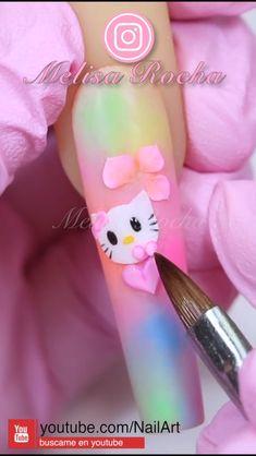 Nail Art Designs Videos, Nail Art Videos, Bling Acrylic Nails, Cute Acrylic Nails, Acrylic Nail Designs Classy, Hello Kitty Nails, Nail Art Techniques, Nail Art Hacks, Nail Tutorials