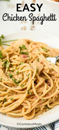 Chicken Spaghetti is an easy meal that can be made in the slow cooker or on the stove top! It's always a hit with its creamy cheesy Velveeta sauce. #centslessmeals #chickenspaghetti #stovetop #crockpot #slowcooker #kidfriendly #30minmeal Top Recipes, Cooking Recipes, Healthy Recipes, Yummy Recipes, Supper Recipes, Easy Cooking, Chicken Spaghetti Recipes, Chicken Recipes, Pasta Recipes