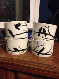 Hand drawn sharpie mugs